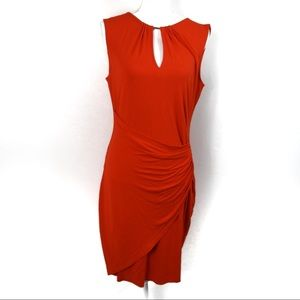 T249 Caché Ruched Key Hole Red Dress Size L